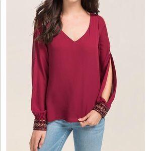 Francesca's braleyn long sleeve cold shoulder top